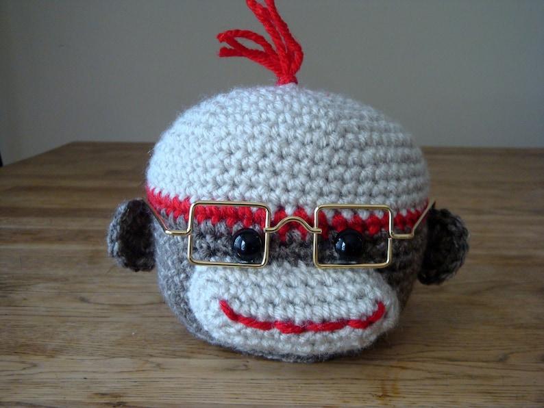 Glasses Stand, Eyeglasses Holder, Crochet Sock Monkey Head Glasses Stand, Kids Glasses Stand