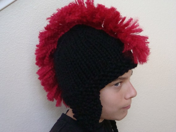 Black Mohawk Hat with Earflaps Newborn Baby Toddler Child