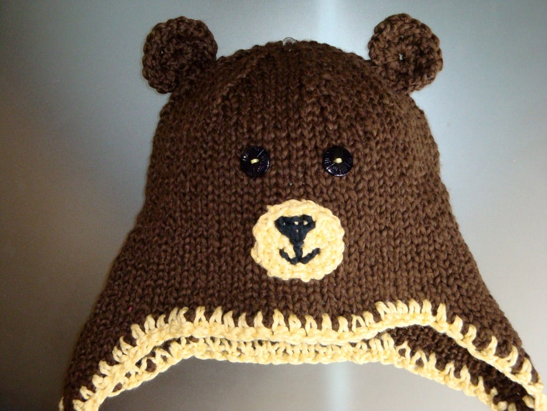 17277a65 Brown Teddy Bear Hat with Earflaps and Braids - All Sizes Newborn Baby  Child Teen Adult - Knitted Animal Hat