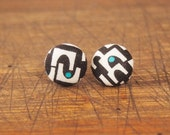 Fabric Covered Button Earring - Black Arches