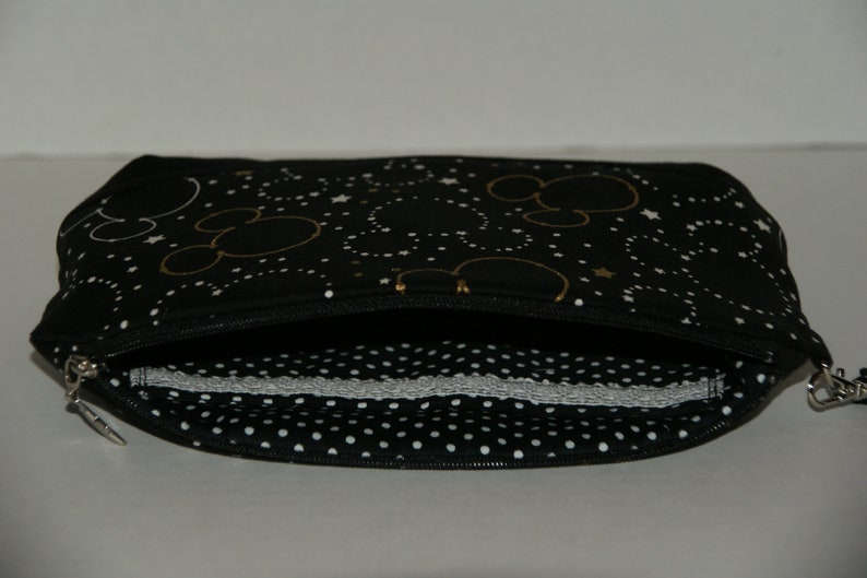 Medium Clematis Padded Zipper Wristlet Pouch Made with Japanese Cotton Oxford Fabric Mickey Star Silhouette  Size