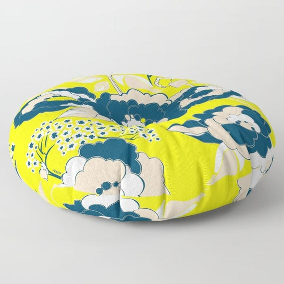 Pop Florals in Citrus Floor Cushion