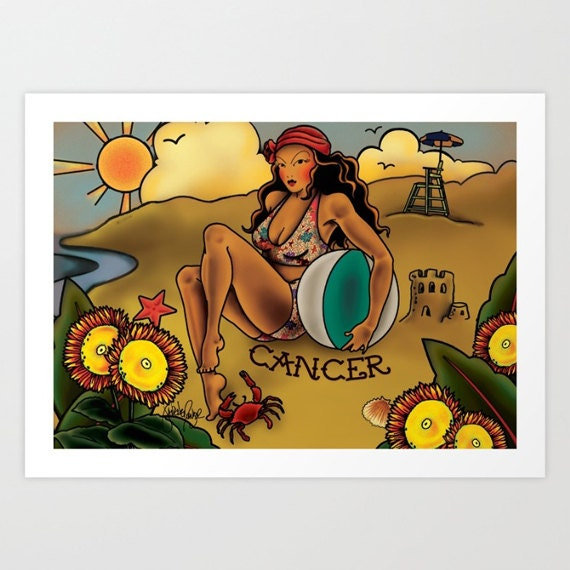 Zodiac Horoscope Tattoo Cancer Print