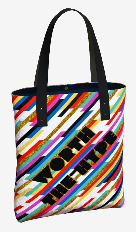 Worth The Hype Stripe Premium Tote Bag