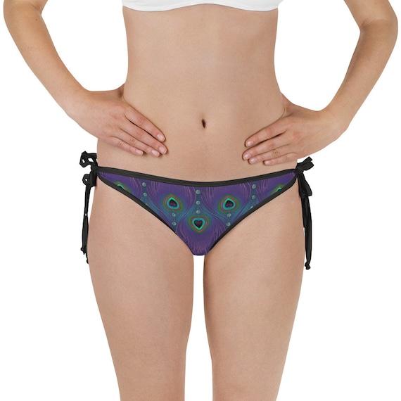 Electric Peacock Reversable Bikini Bottom