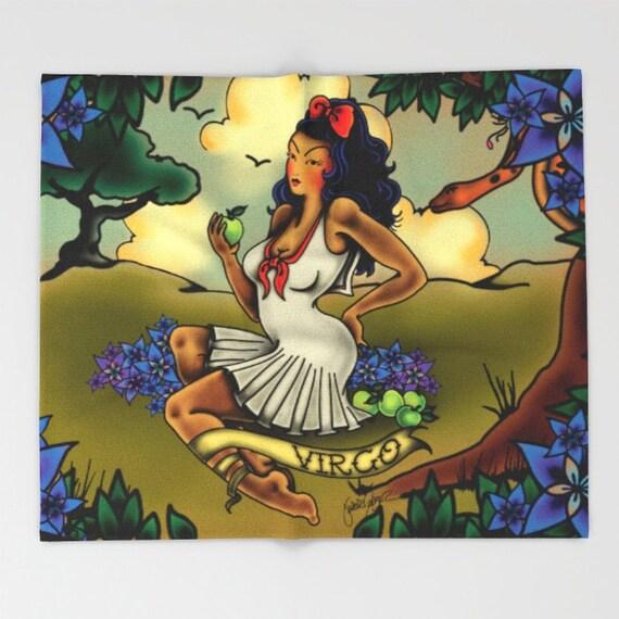 Zodiac Horoscope Tattoo Virgo Blanket