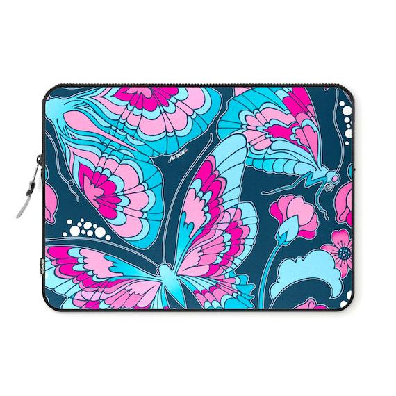 Butterflies in Blue Laptop Ipad Sleeve