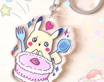 PREORDER Happy Pikachu Loves Strawberry Cake Acrylic Charm - Food Loving Pokemon Acrylic Keychain series