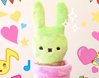 Happy Rabbit Sprout - Potted Plant Plush Toy - Cute Plushie Bunny