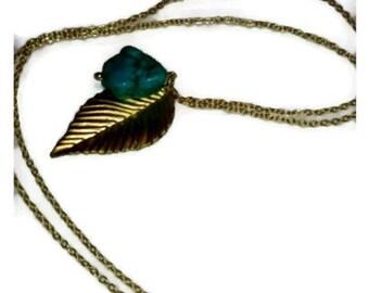 Golden Leaf Howlite Dyed Turquoise Aquamarine Long necklace