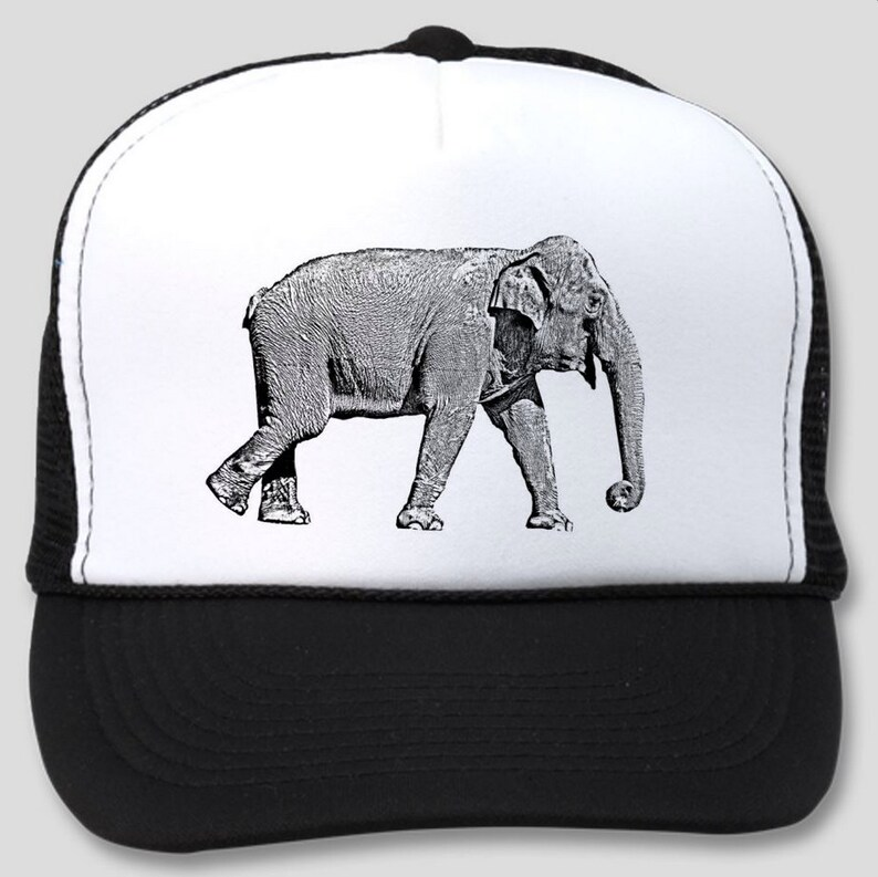 Trucker Hat with Black   White Elephant silk screen. Original  a41e8599cb8
