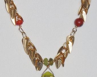 Leafy necklace, Carnelian, Peridot, Red Jasper, Olivine