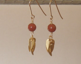 Leafy Red Jasper earring to match the Leafy necklace