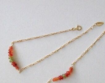 Peridot / Carnelian 14kt gold bracelet