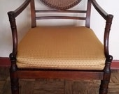 Antique Sheraton Federal Fan Back Cane Armchair w Contemporary Cushion