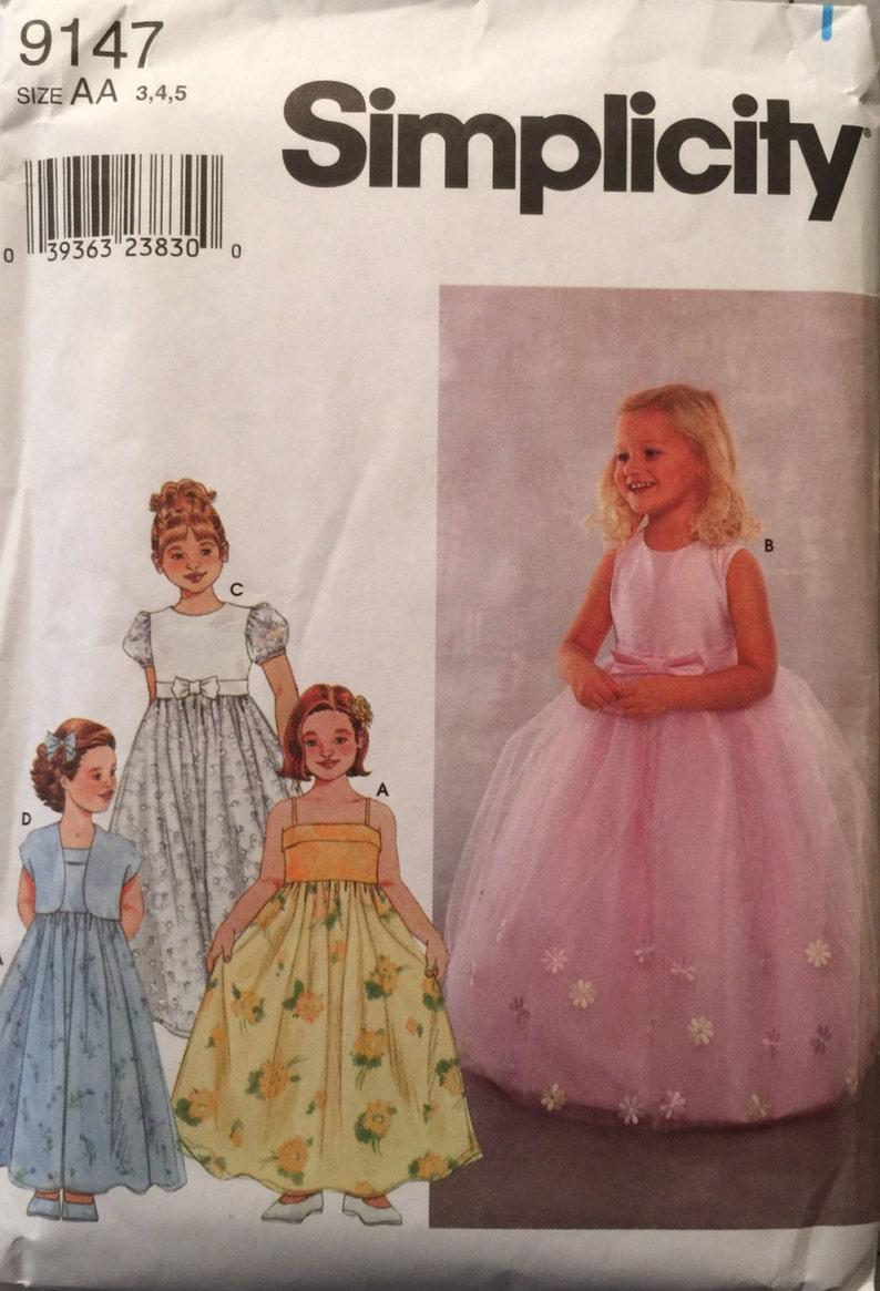 eb9a08b96 Simplicidad 9147, talla 3-4-5, vestido de niño y patrón de chaqueta,  vestido sin cortes, partido, boda, la muchacha de flor, vestido de juego,  2000, ...