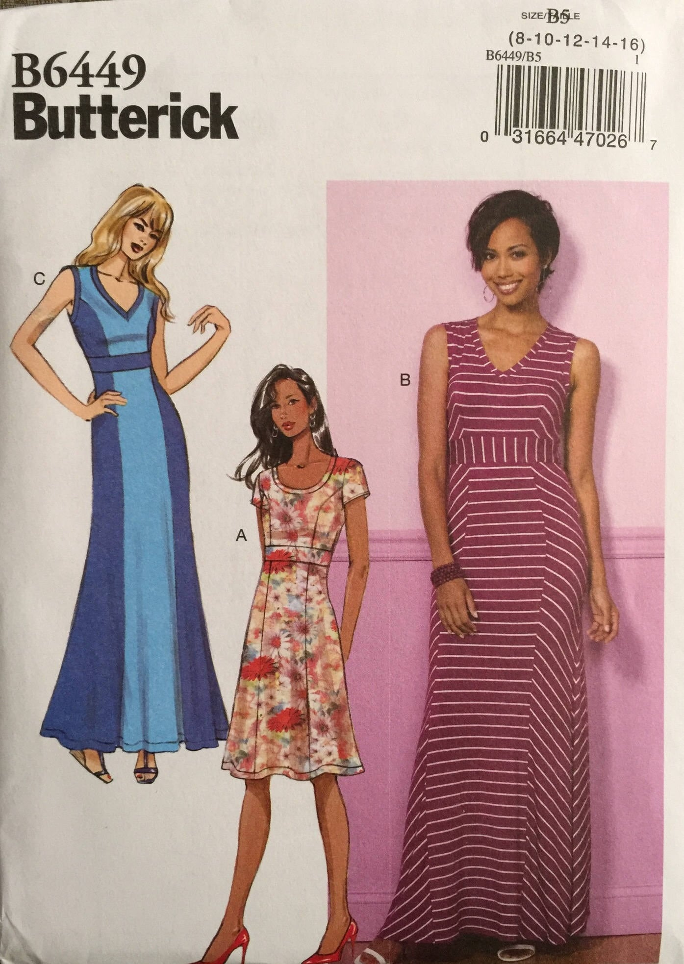 Butterick B6449, Size 8 10 12 14 16, Misses' Dress Pattern, UNCUT, Maxi Dress, Pullover Dress, Wedding Guest, Work Wear, Summer, 2017