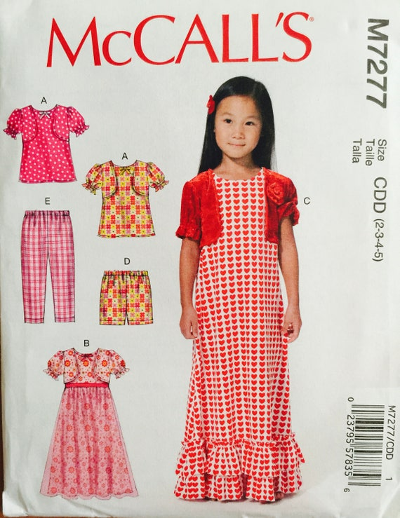 M7277 de McCall tamaño 2-3-4-5 infantil Top vestidos | Etsy
