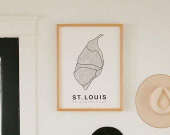 ST. LOUIS Neighborhood City Map Print, Handmade, STL Missouri Map, Wall Art Decor, Moving Gift, Gift for Him, Gift for Her, Realtor Gift