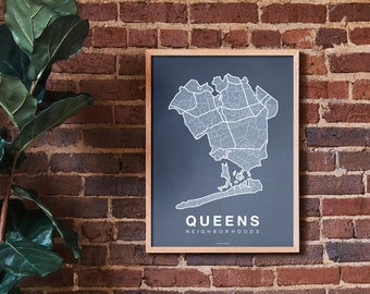 QUEENS Neighborhood City Map Print, Handmade, Queens New York Map, Art Decor, Moving Gift, Gift for Him, Gift for Her, Realtor Gift
