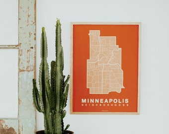 MINNEAPOLIS Neighborhood City Map Print, Handmade, Minneapolis Map, Wall Art Decor, Moving Gift, Gift for Him, Gift for Her, Realtor Gift