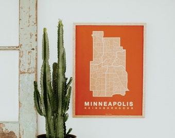 MINNEAPOLIS Map. Screen Print Poster. Neighborhood Map. Modern Home Decor Print. Minneapolis Minnesota Art Poster. Multiple Colors.