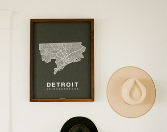 DETROIT Neighborhood City Map Print, Handmade, Detroit Michigan Map, Wall Art Decor, Moving Gift, Gift for Him, Gift for Her, Realtor Gift