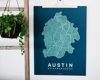 AUSTIN Neighborhood City Map Print, Handmade, Austin Texas Map, Wall Art Decor, Moving Gift, Gift for Him, Gift for Her, Realtor Gift