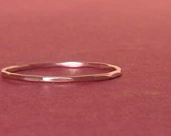 Thin Gold Ring/ Size 5 Ring/ Rose Gold Ring/ Rose Gold Band/Stacking/Thin Pink Gold Ring/Teeny Weenie Slightly Beaten Ring*Rose Gold Filled*