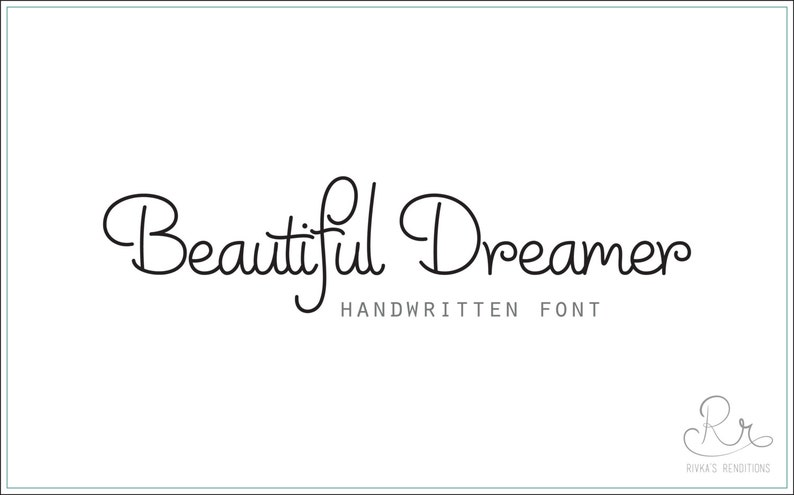 Handwriting Font Download Beautiful Dreamer Otf Etsy