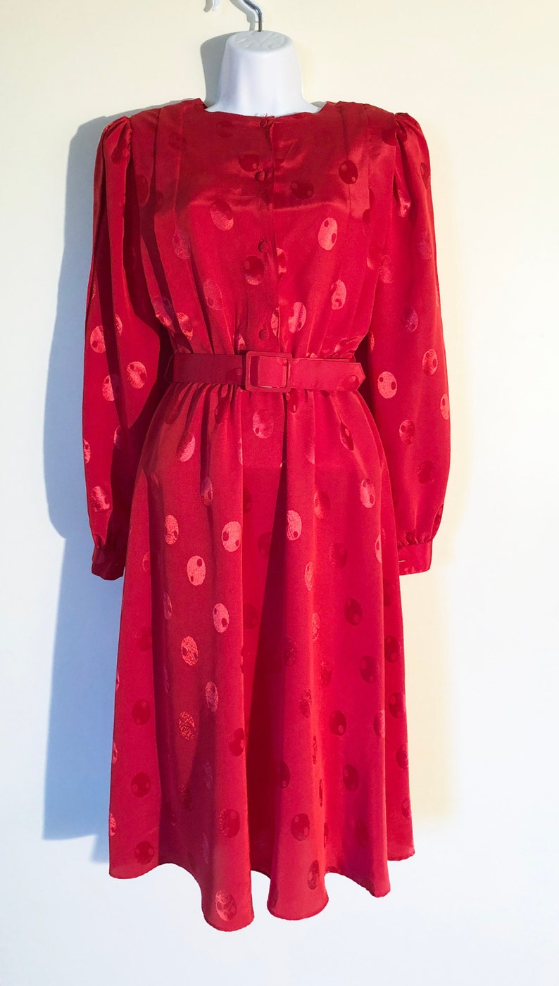 Vintage 80's Working Girl Dress  Size 5 / 6  Red Dot  image 0