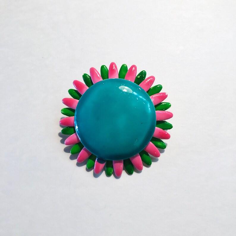 Vintage Flower Pin  Brooch  Teal & Pink  Enamel  50s  60s image 0