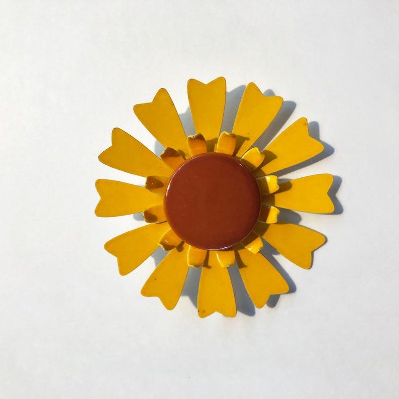 Vintage Flower Pin  Brooch  Yellow & Brown  Enamel  50s  image 0