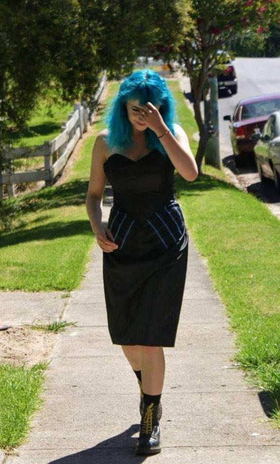 Funky 1980s taffeta and tartan ,  bustier dress a… - image 1