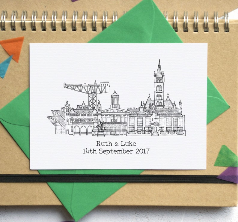 City Skyline Folded Wedding Invites image 0