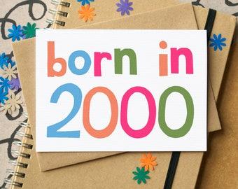 Born in 2000 Card - 18th Birthday Card - Eighteenth Birthday Card - 18th card - 2000 birthday card - 18th card for him - simple 18th card