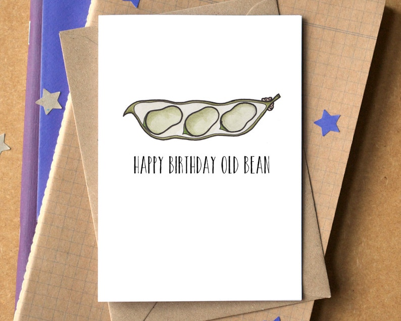 Funny Happy Birthday Old Bean Card image 0