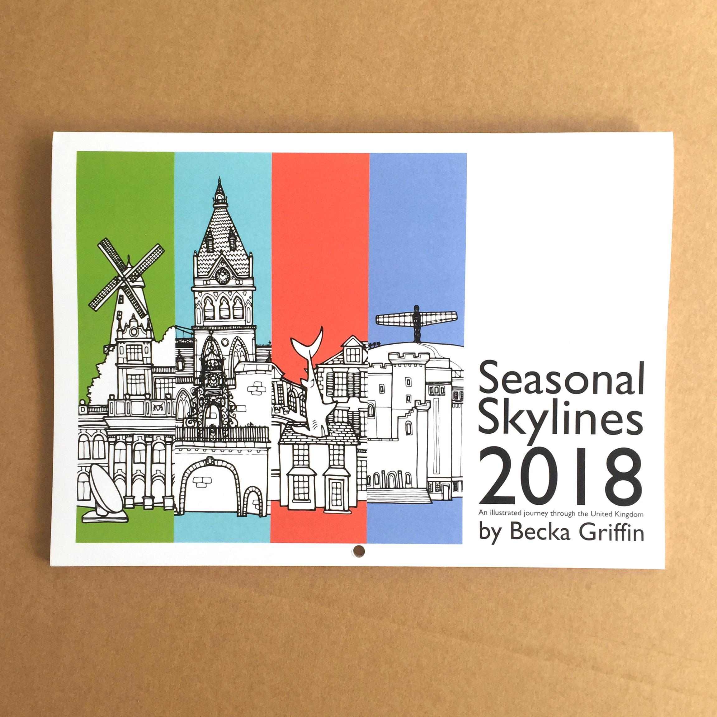 UK City Skylines Calendar 2018 Illustrated City Skylines