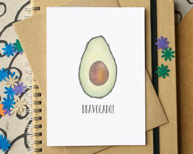 Funny Graduation Card - Bravocado Card - Funny Avocado Congratulations Card - Funny Well Done Card - Funny Exam Results Card - Avocado Card
