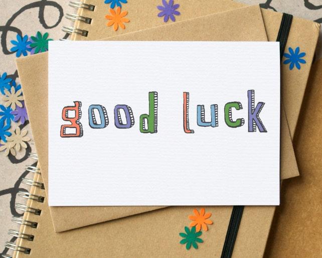 Good Luck - Unisex Good Luck Card - Simple Good Luck Card
