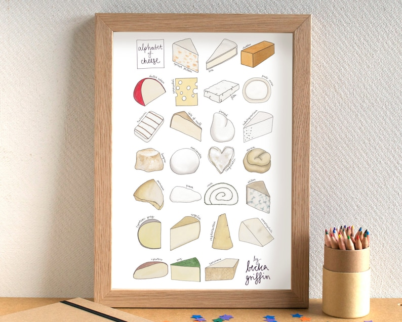 Cheese Alphabet Kitchen Art Print image 0