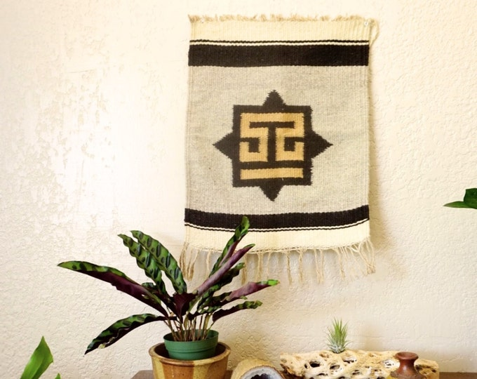 Small Vintage Brown Off White Woven Wool Wall Tapestry / Rug / Placemat
