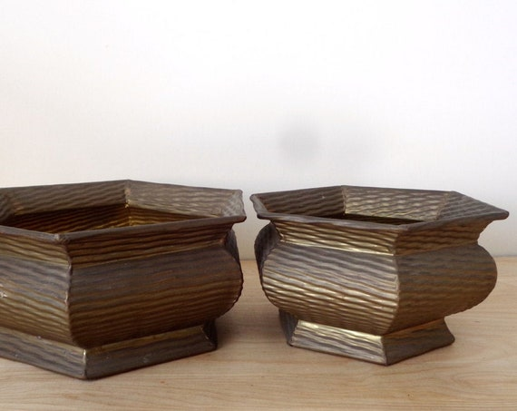 Large Ribbed Hexagon Solid Brass Planter Pots - Set of 2