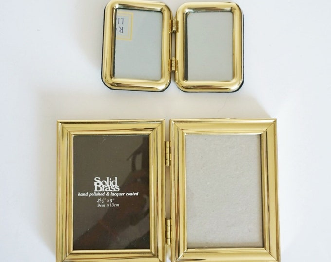 Vintage Double Hinged Frame Gold Lacquered Brass Picture Holder - 3.5 x 5