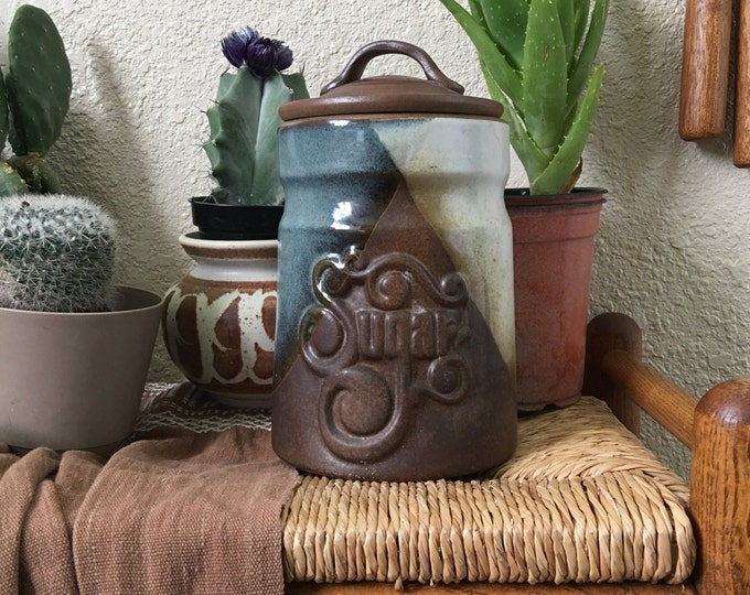 Tall Vintage Pottery Craft Ceramic Sugar Jar with Lid