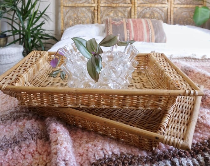 Deep Rectangle Woven Wicker Trays - Set of Two