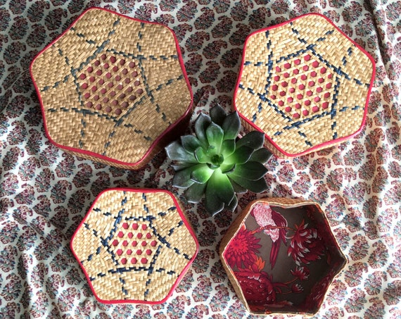 Woven Straw Hexagonal Nesting Baskets with Bird Fabric Lining - Set of 3