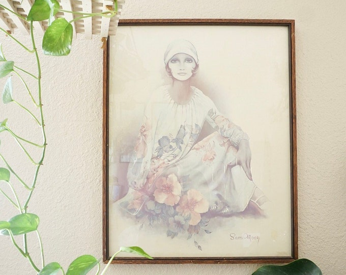 Large Vintage Sara Moon Lithograph Print with Aged Wood Frame