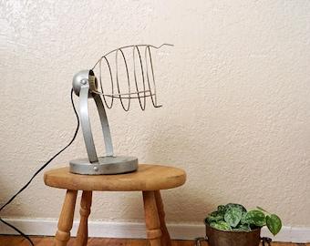 Vintage Bretford Metal Wire Cage Table Lamp