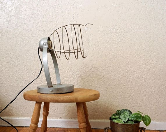 Vintage Bretford Metal Wire Cage Table Lamp